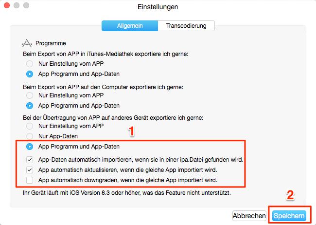 App & App Daten sichern – Schritt 2