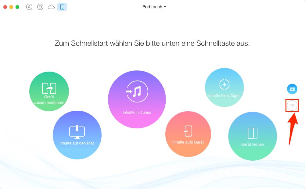 Apps vom iPod auf iTunes – Schritt 1