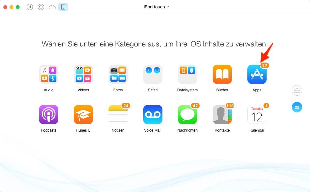 iPod touch Apps in iTunes übertragen – Schritt 2