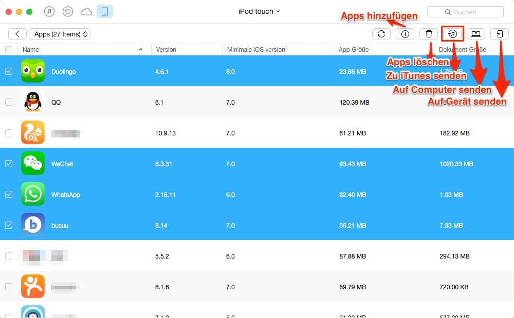 Apps vom iPod touch auf iTunes versenden – Schritt 3