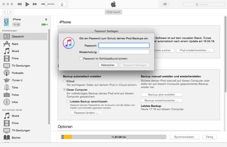 Backup Passwort vergessen Apple – neues Backup erstellen