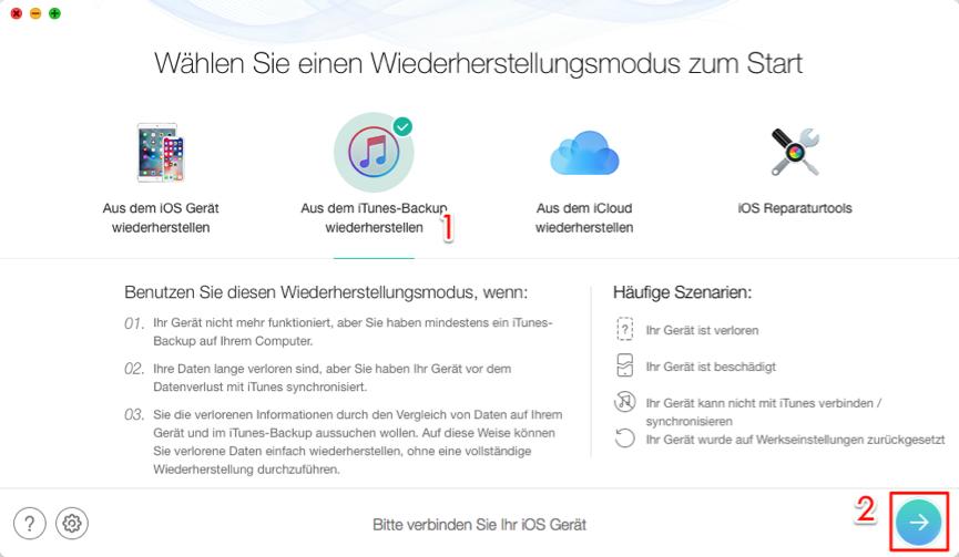 Backup Passwort vom Apple vergessen – Schritt 1