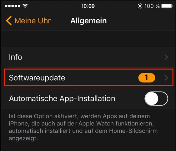 watchOS 4 installieren – Schritt 2