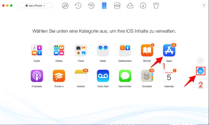 iPhone Apps übertragen – Schritt 2