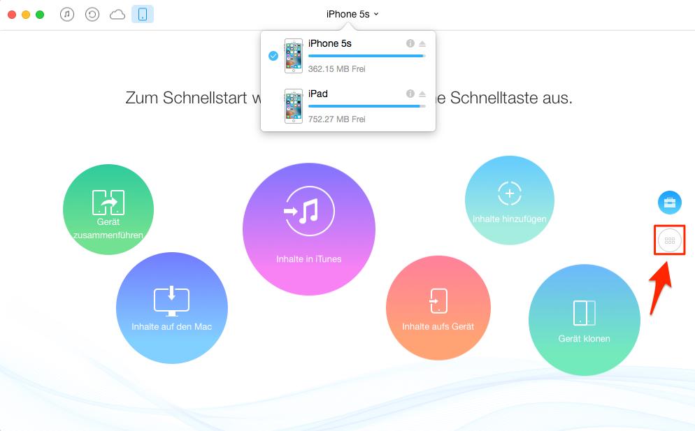 Apps vom iPhone auf iPad übertragen mit AnyTrans – Schritt 2