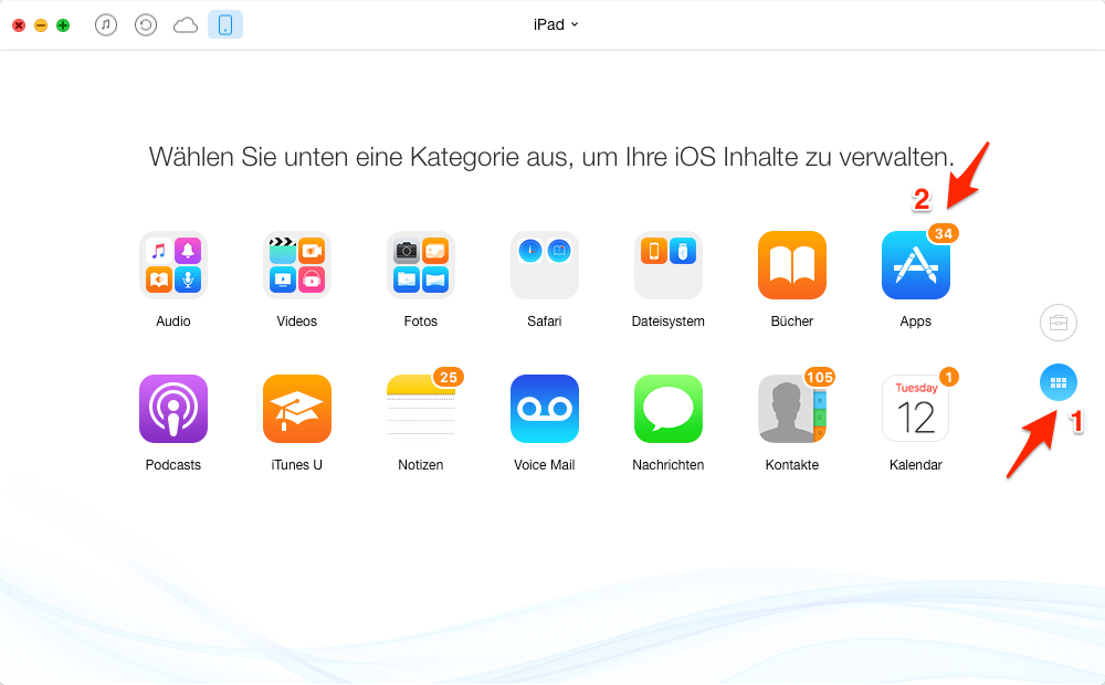 iPad Apps auf Mac übertragen, ohne iTunes – Schritt 3