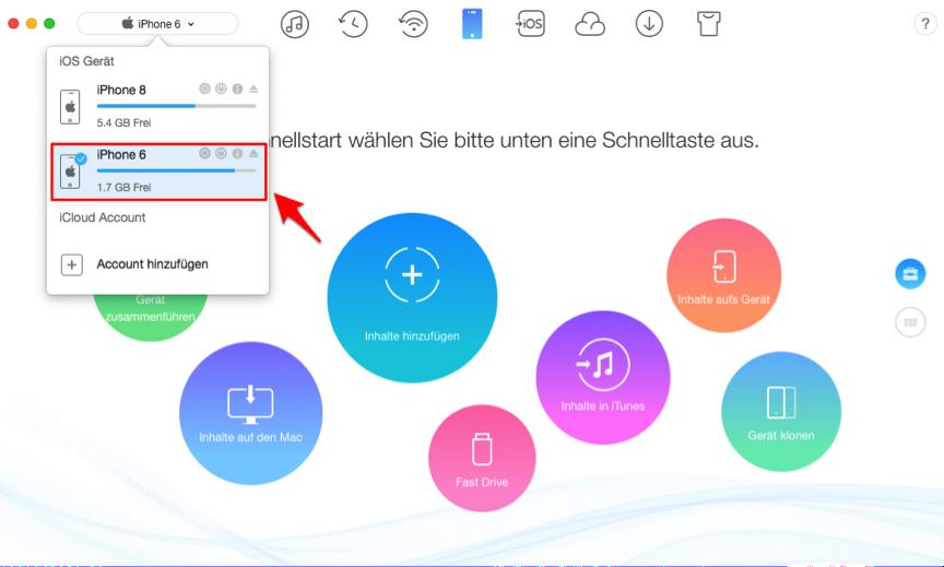App zwischen zwei iPhones transportieren – Schritt 1