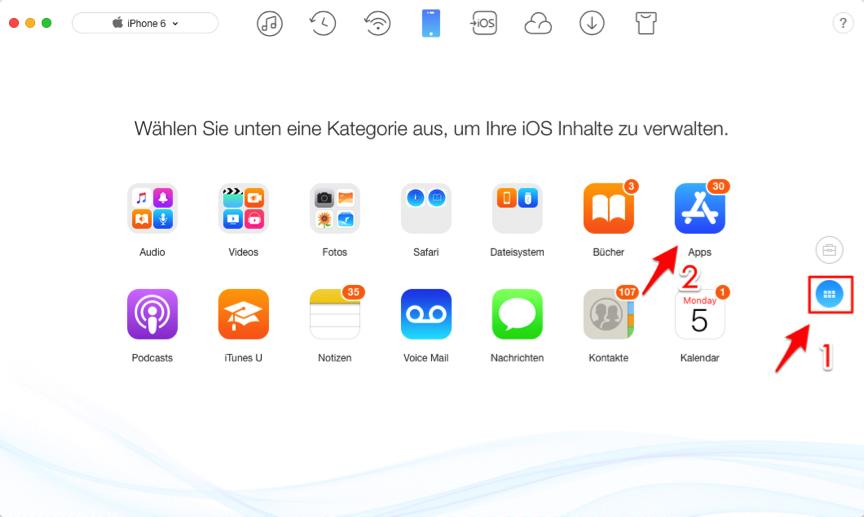Apps mit AnyTrans übertragen – Schritt 2