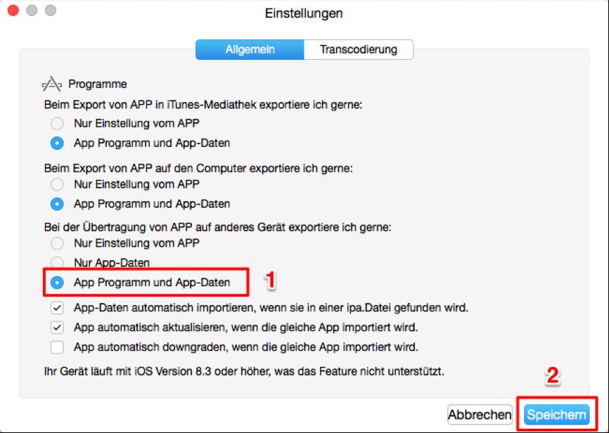 Apps von iPhone 7/6/5 auf iPhone X/8 übertragen - einstellen