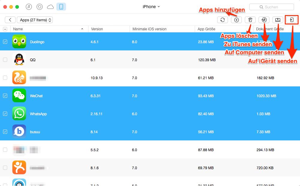 Apps vom iPhone auf iPod selektiv übertragen – Schritt 3