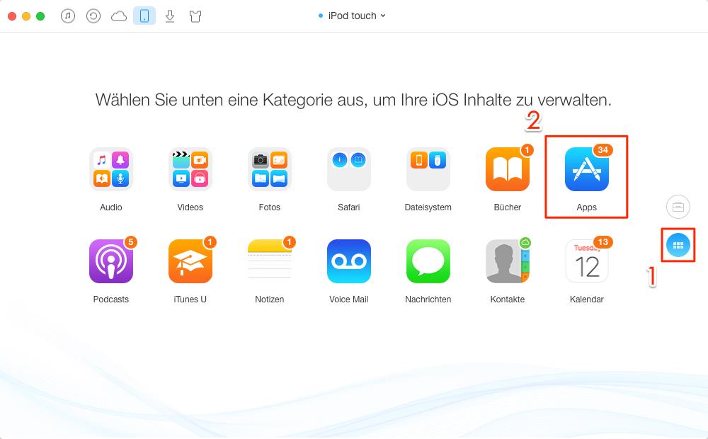 Das Fenster vom iPod touch öffnen und Apps auswählen – Schritt 2
