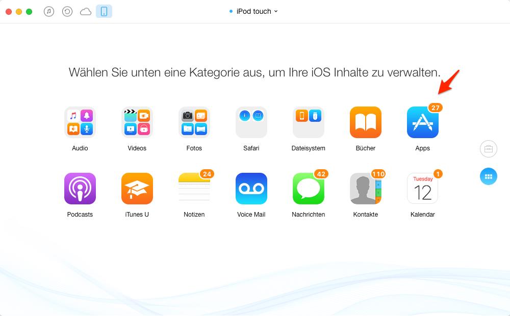 Apps vom iPod touch auf iPad übertragen, ohne iTunes – Schritt 2