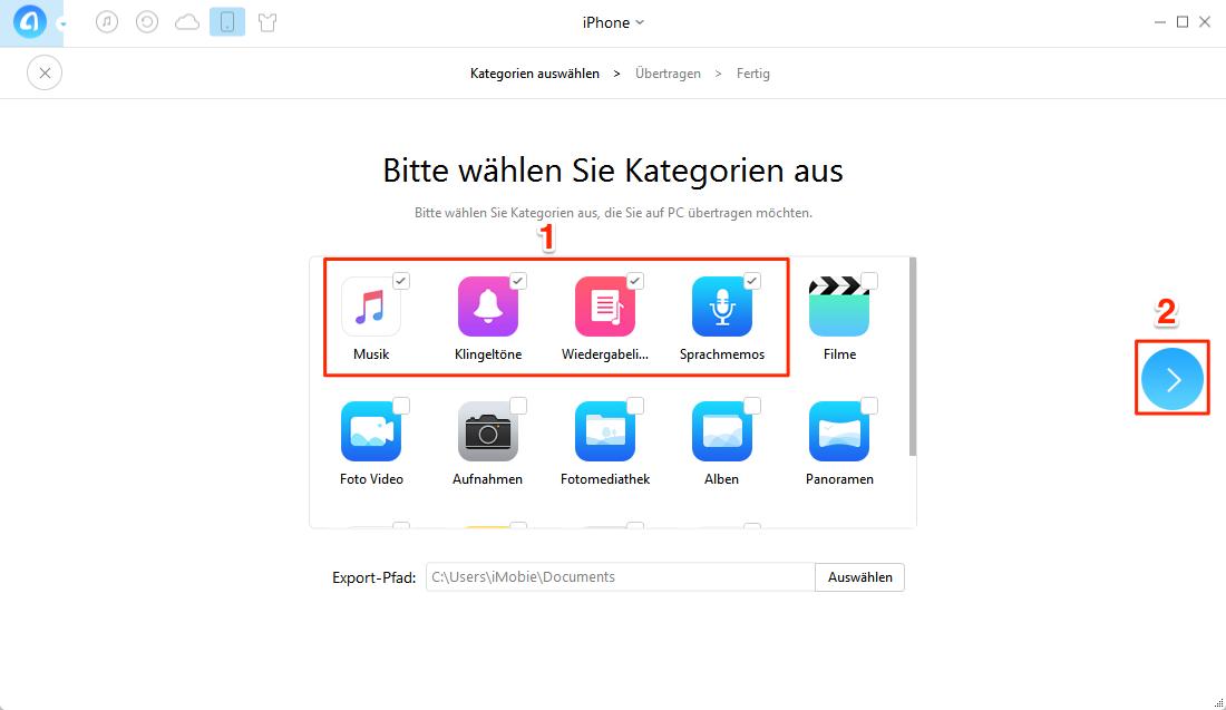 Audiodateien vom iPhone auf PC – Nur mit 1-Klick – Schritt 3