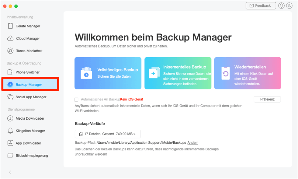 Auf Backup-Manager klicken