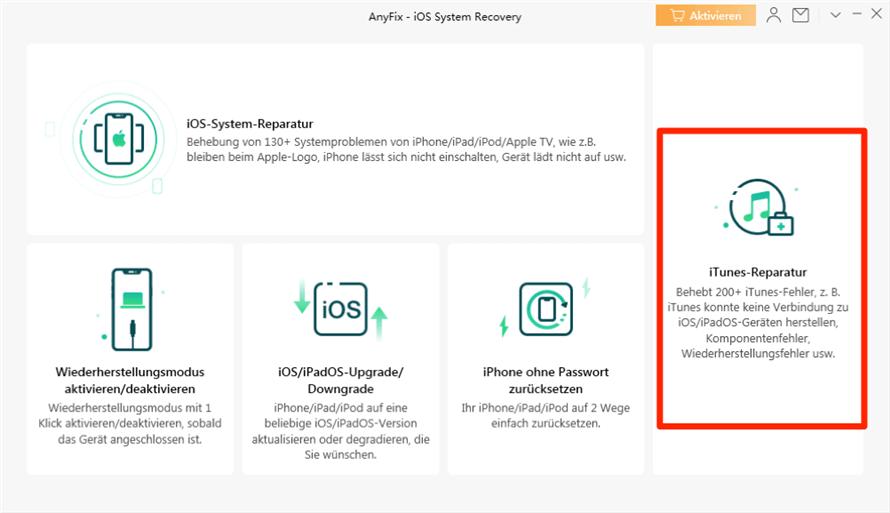 Auf iTunes-Reparatur klicken um iTunes-Fehler 4013 zu beseitigen