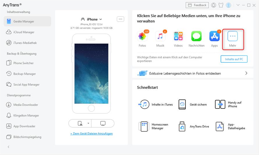 Auf Mehr klicken um Daten auf iCloud zu übertragen