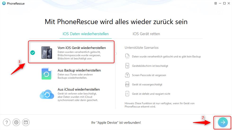 Auf - Vom iOS Gerät wiederherstellen - klicken