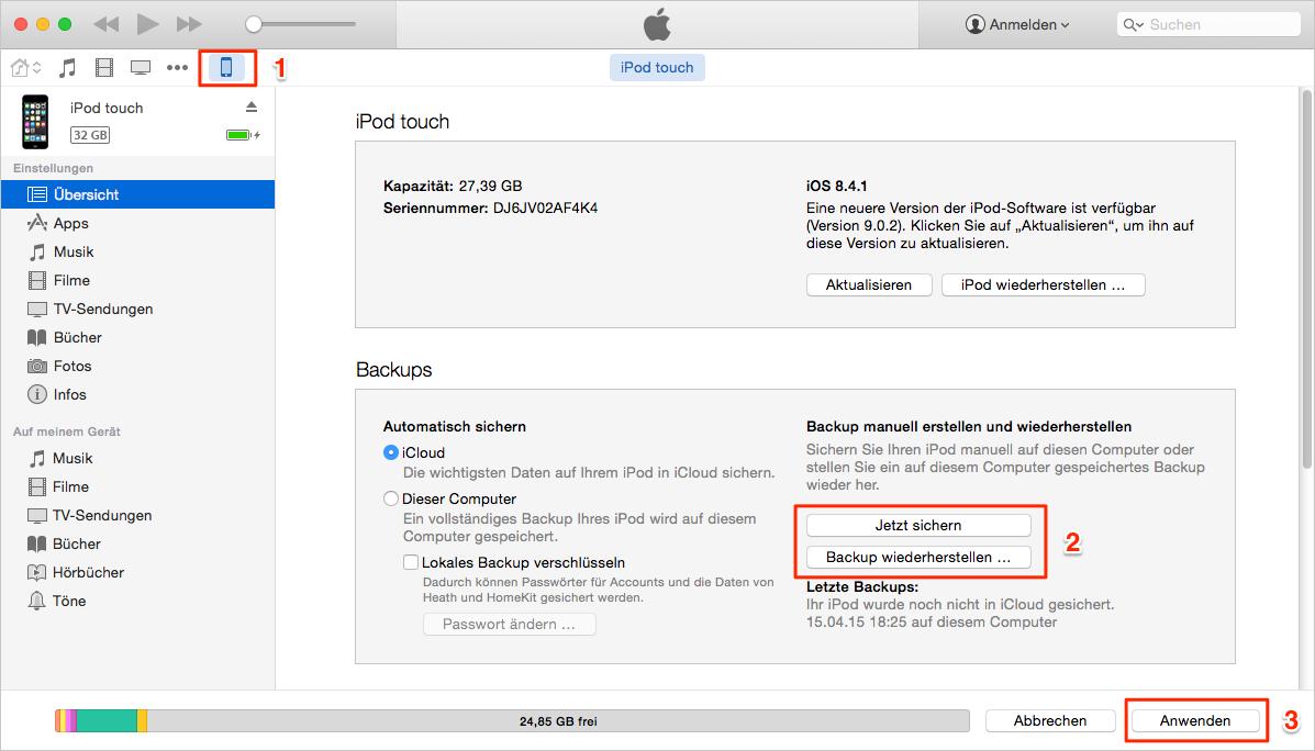 Mit iTunes kann man iPod sichern und wiederherstellen