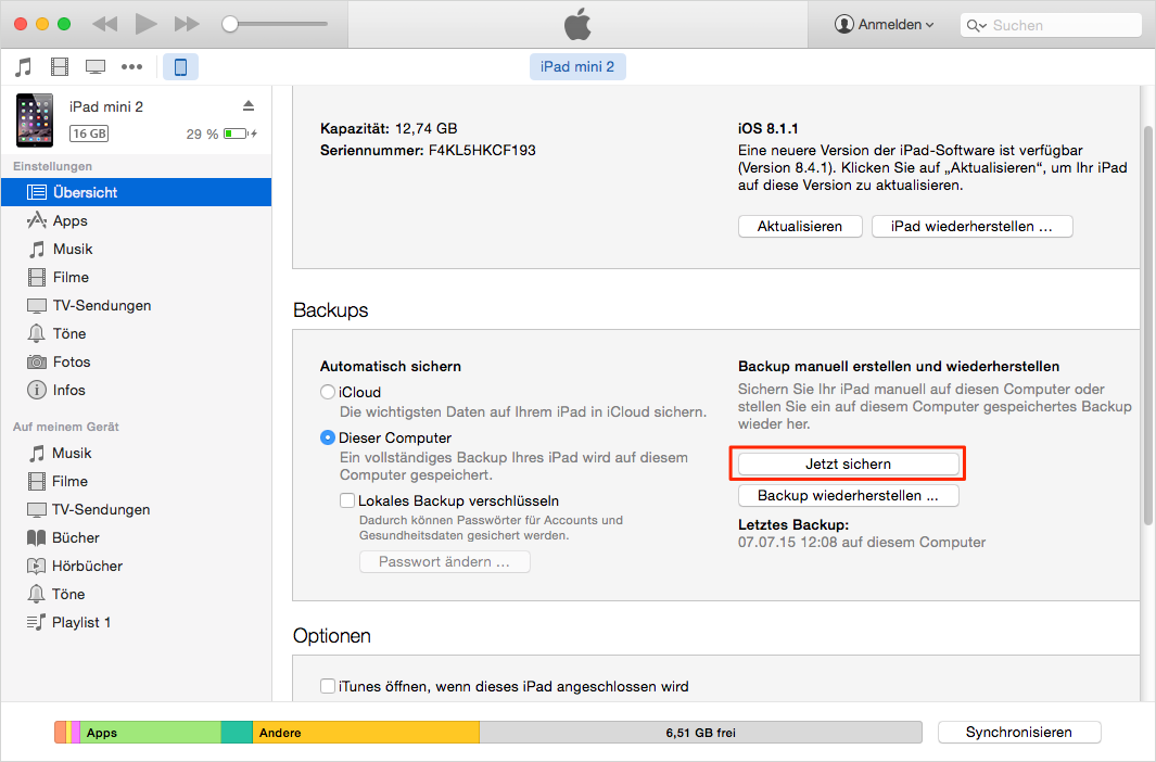 Über iTunes das Gerät sichern – Backup Software für iOS 9