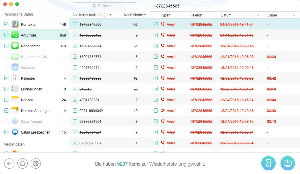 Mit PhoneRescue Daten abrufen - Backup Software für iOS 9