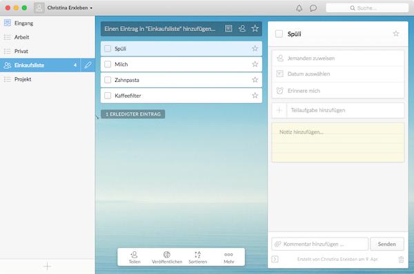 Beste App für Mac: Wunderlist