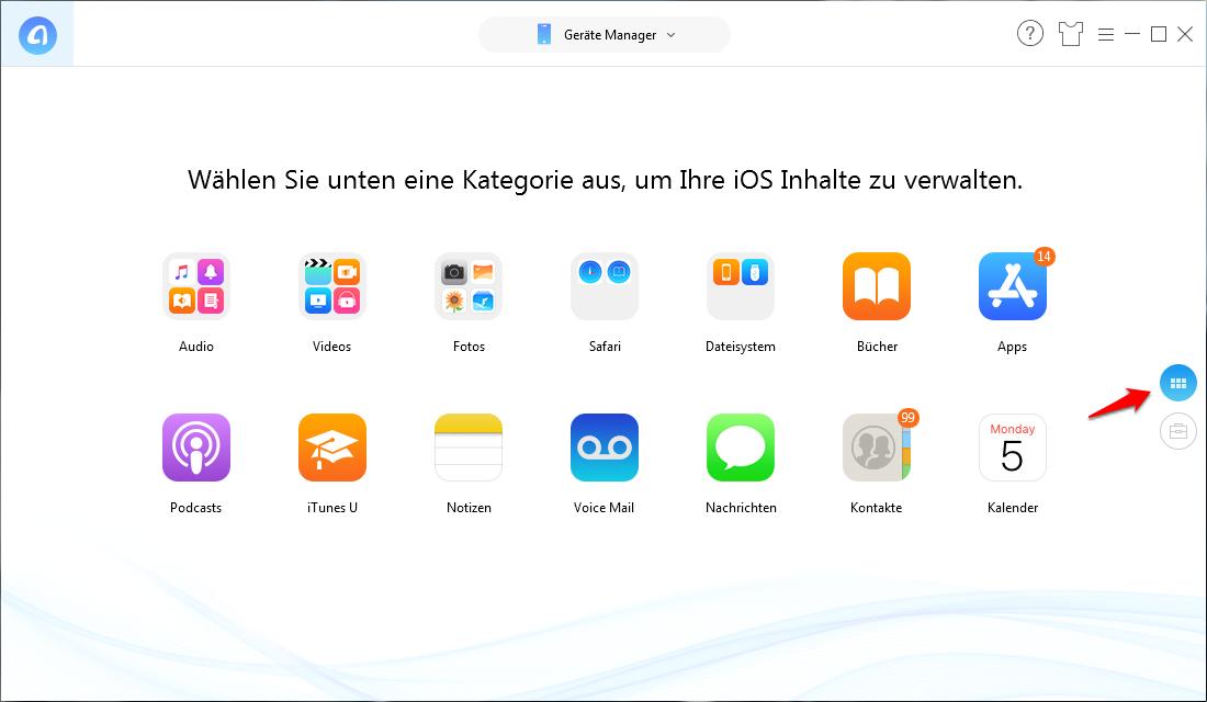 Alle/Teilweise Bilder in iCloud speichern – Schritt 1