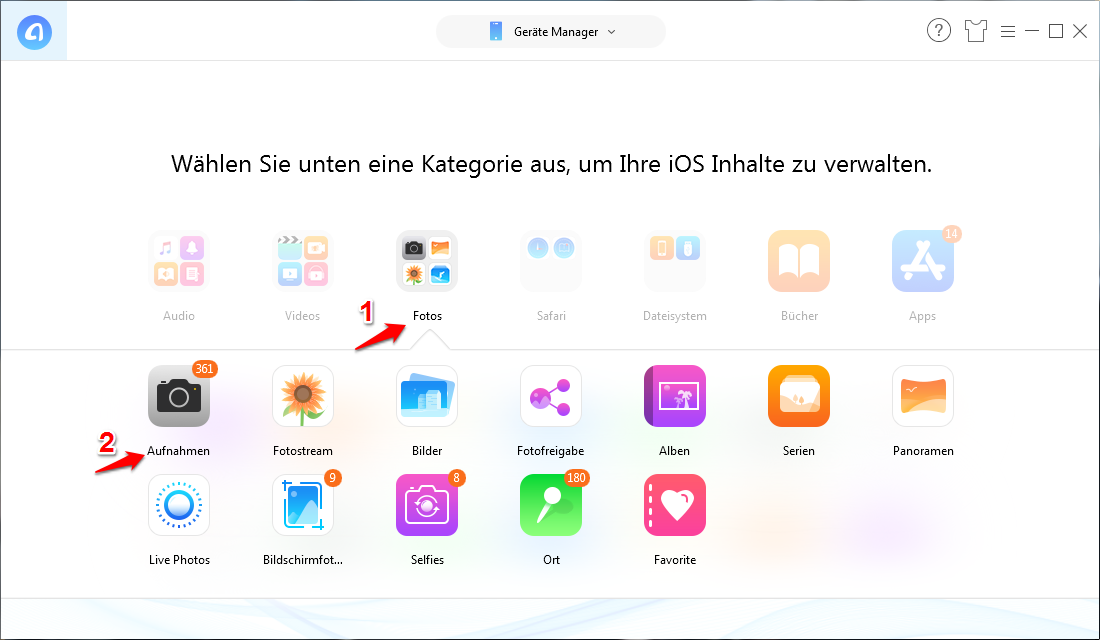 Alle/Teilweise Bilder in iCloud selektiv hochladen – Schritt 2
