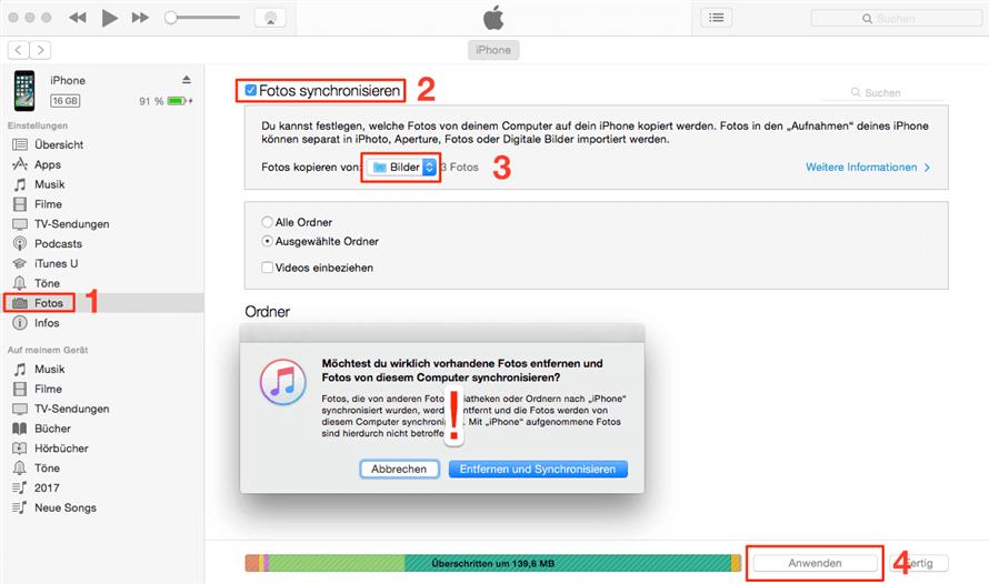Bilder über iTunes synchronisieren