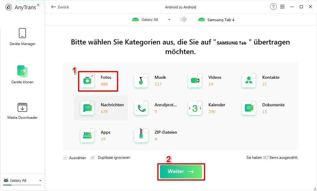 Bilder vom Handy auf Tablet Samsung – Schritt 2