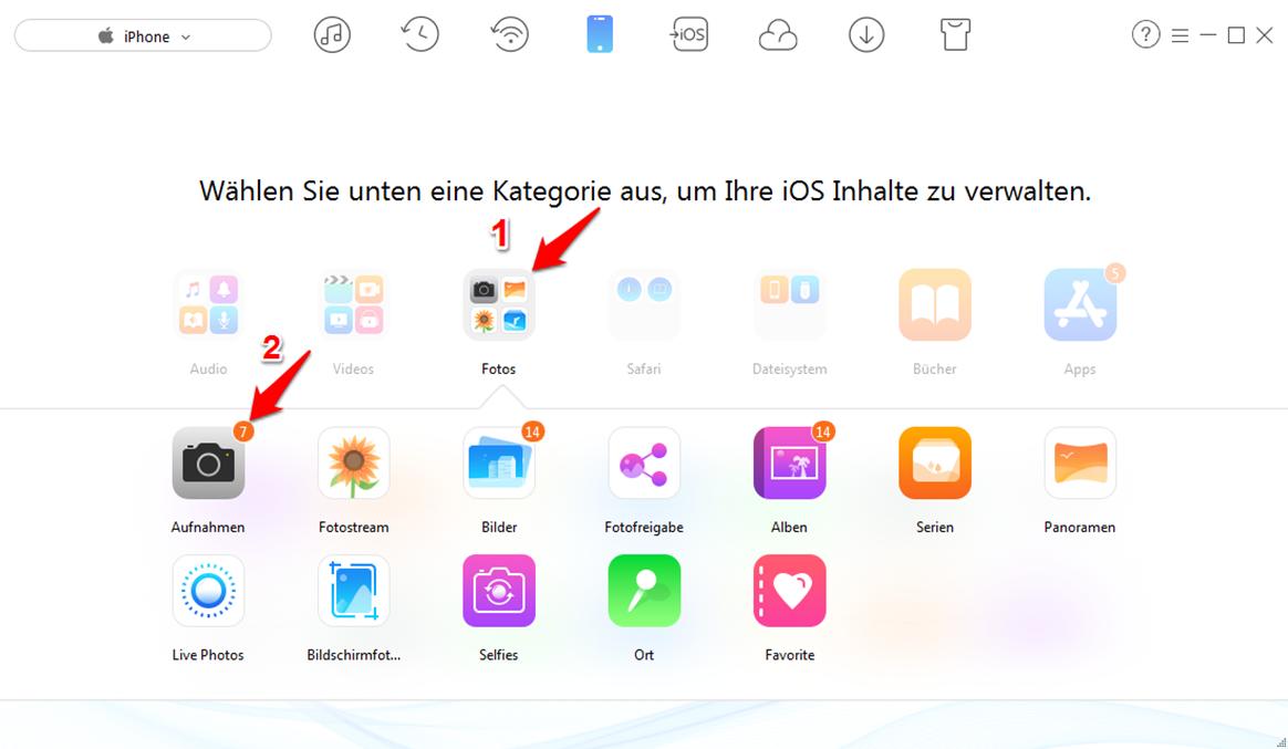 Bilder vom iPhone auf den Computer ziehen – Schritt 2