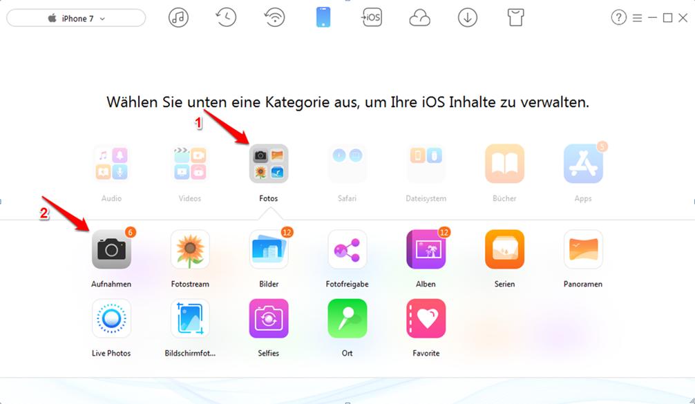 Bilder vom iPhone auf PC mit AnyTrans übertragen – Schritt 2
