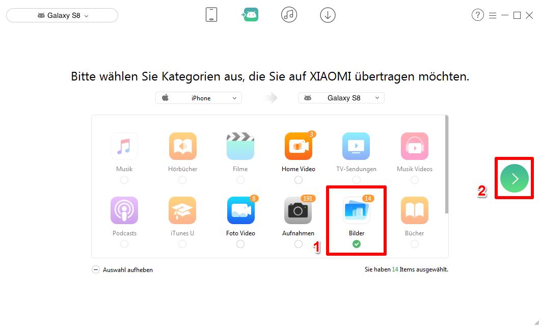 Bilder von iPhone auf Samsung übertragen - Schritt 2