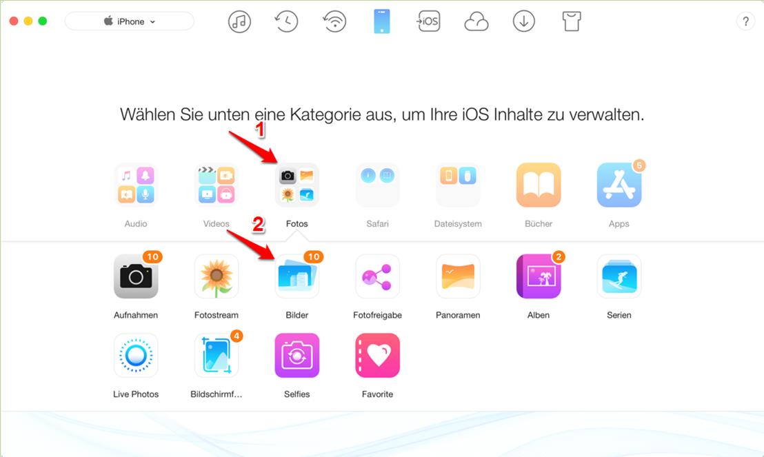 iPhone Bilder vom Mac auf iPhone 6 übertragen – Schritt 2