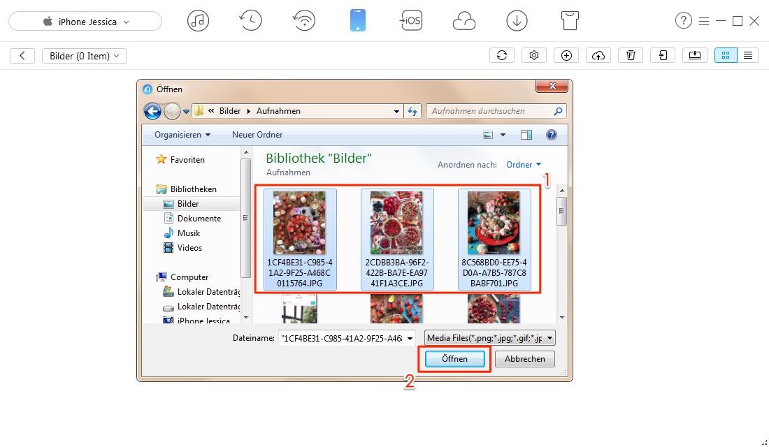 Ohne Überschreiben! Bilder vom PC auf iPhone 7/8/X übertragen – Schritt 3