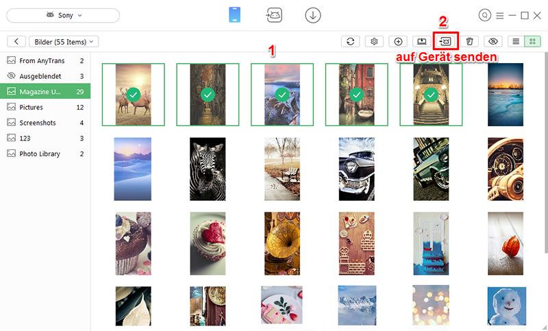 Teilweise Bilder von Android auf Android übertragen