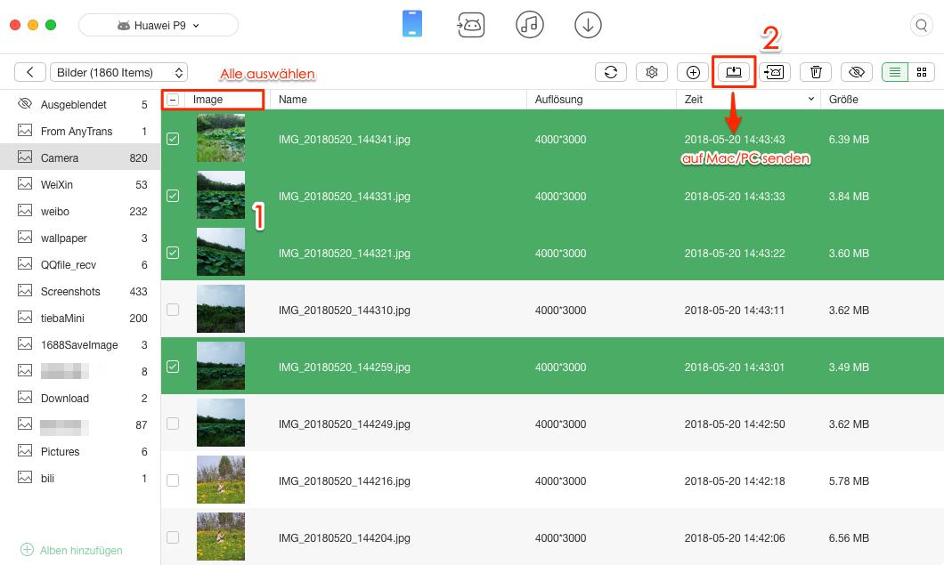 Bilder vom Android-Handy auf Mac - Schritt 3