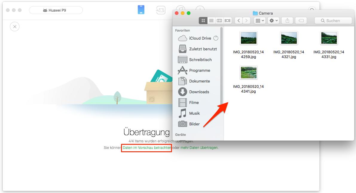 Bilder von Android auf Mac erfolgreich übertragen