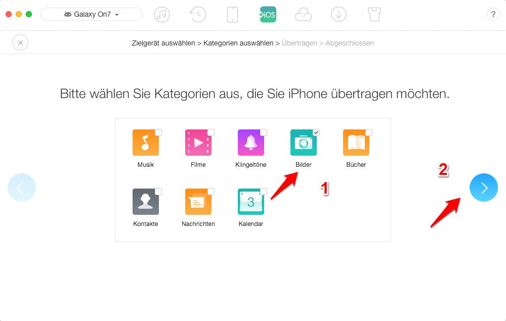 Samsung Bilder auf iPhone - Bilder übertragen - Schirtt 3