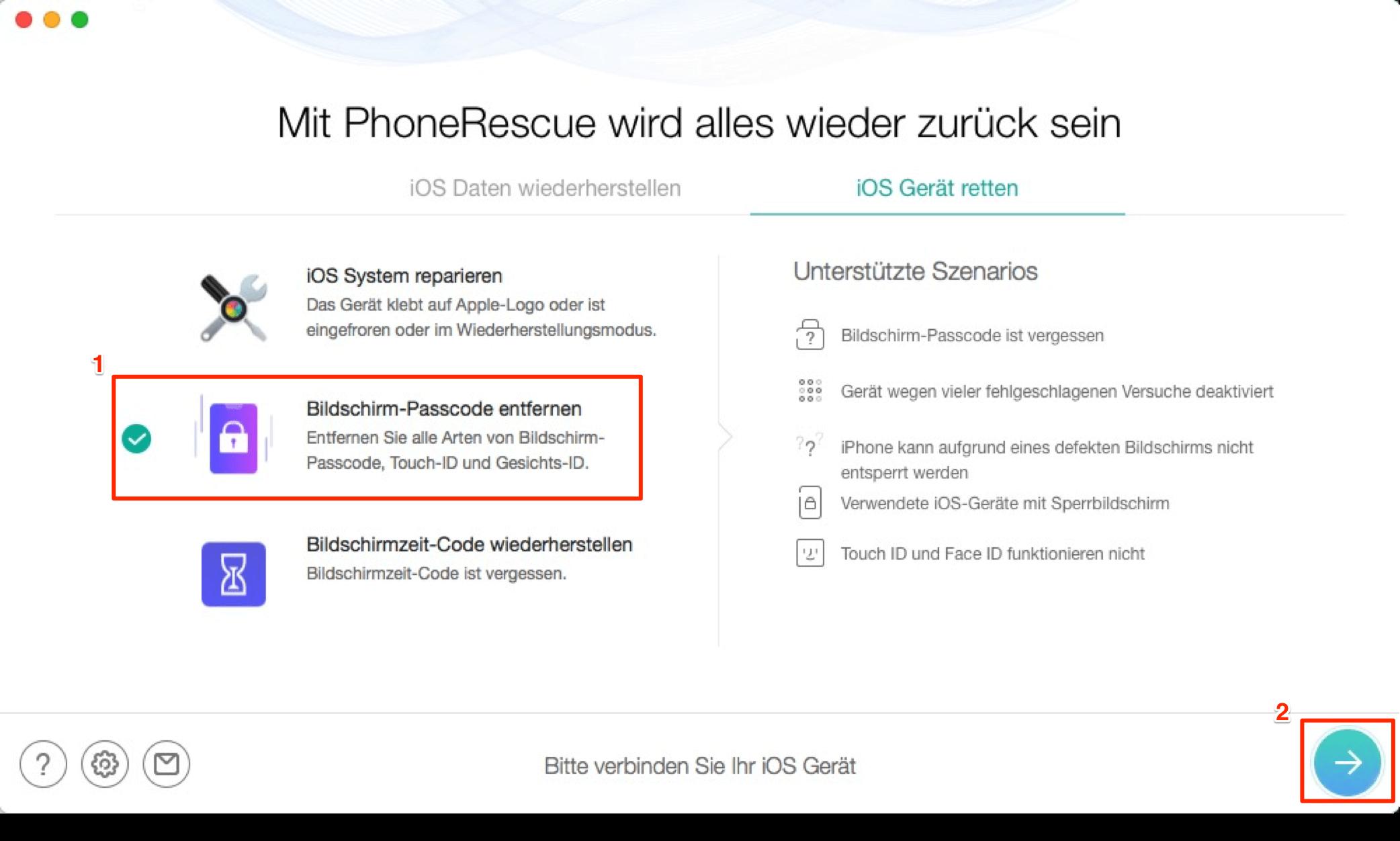 """Wählen Sie """"Bildschirm-Passcode entfernen"""" - Schritt 1"""
