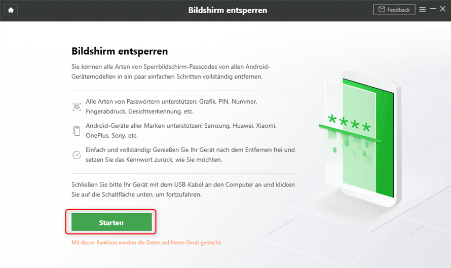 Bildschirm entsperren DroidKit