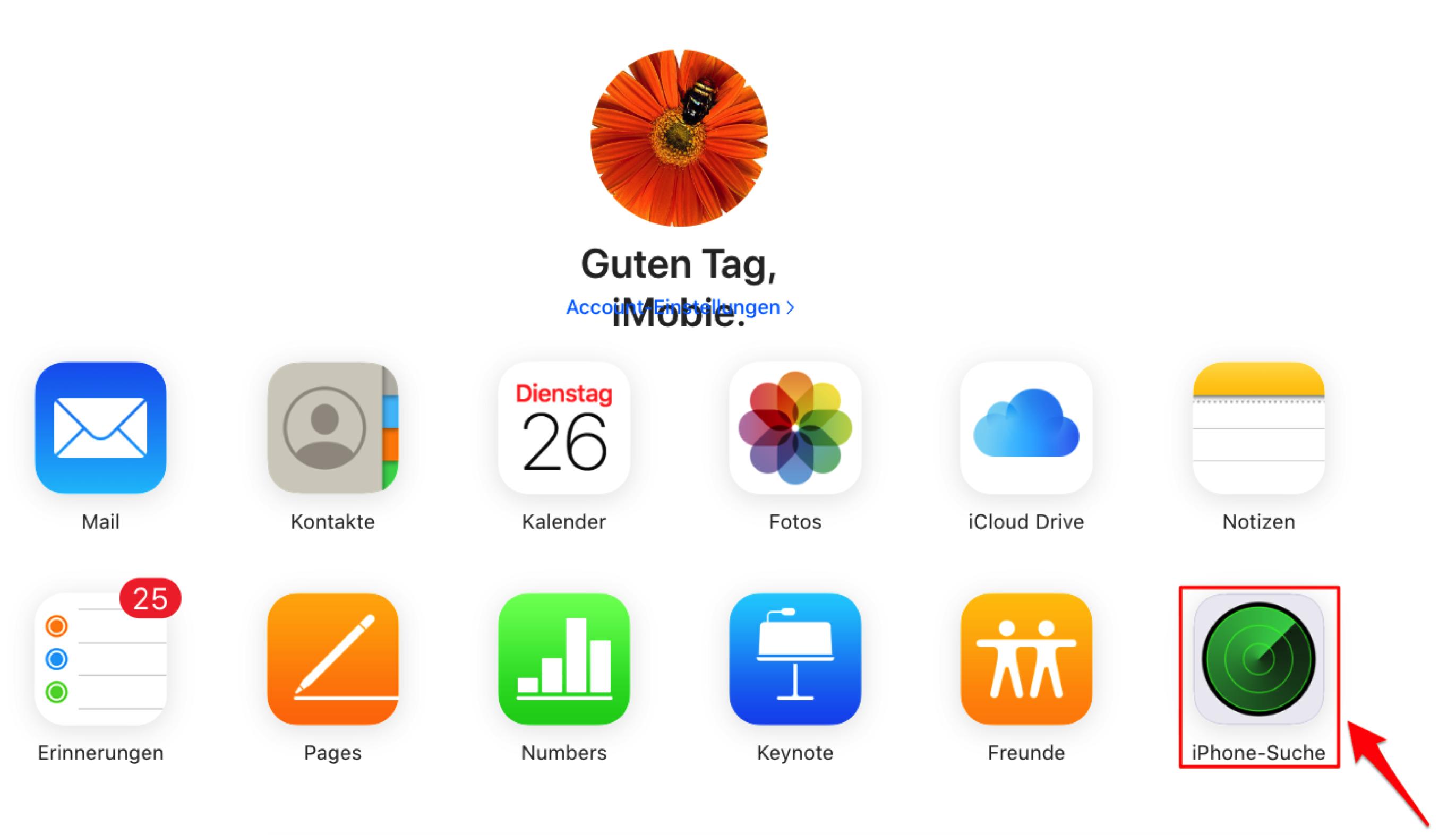 """Klicken auf die Option """"iPhone suchen"""" - Schritt 1"""