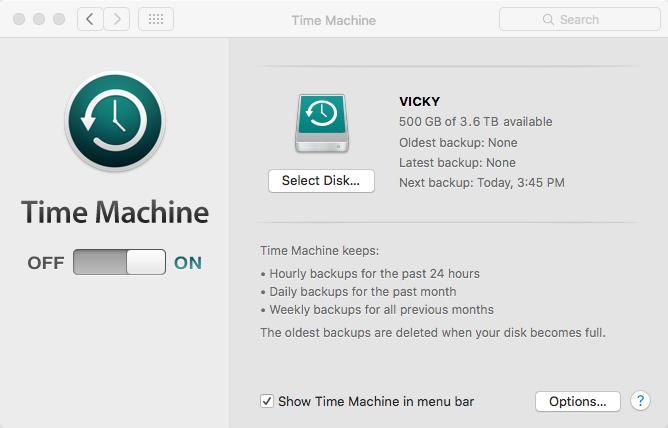 Backup mit TimeMachine erstellen – clean install El Capitan/MacOS Sierra