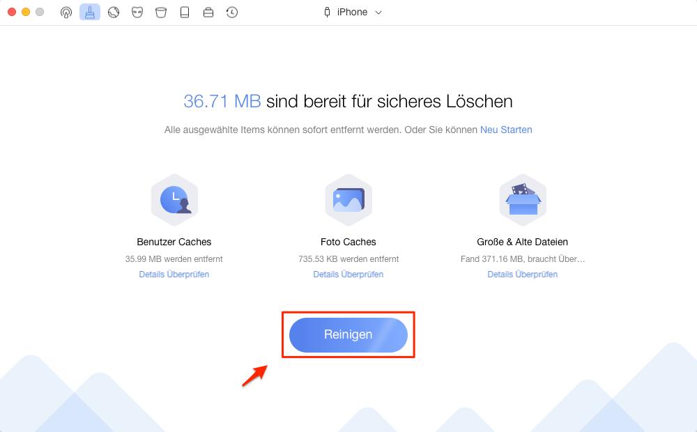 iTunes Radio Caches vom iOS-Gerät reinigen - Schritt 3