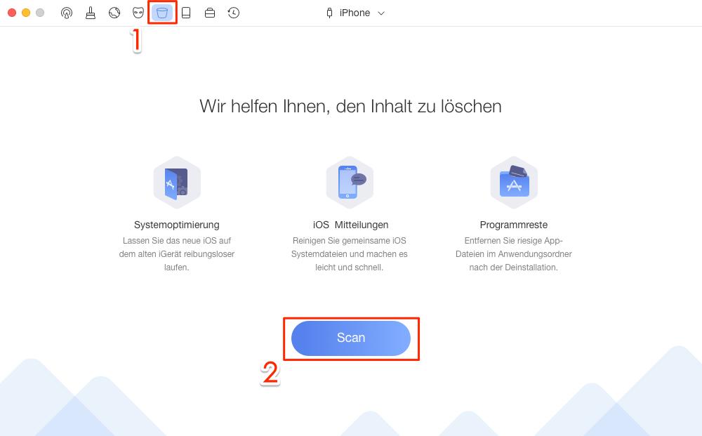 PhoneClean starten und Systembereinigung wählen - Schritt 2