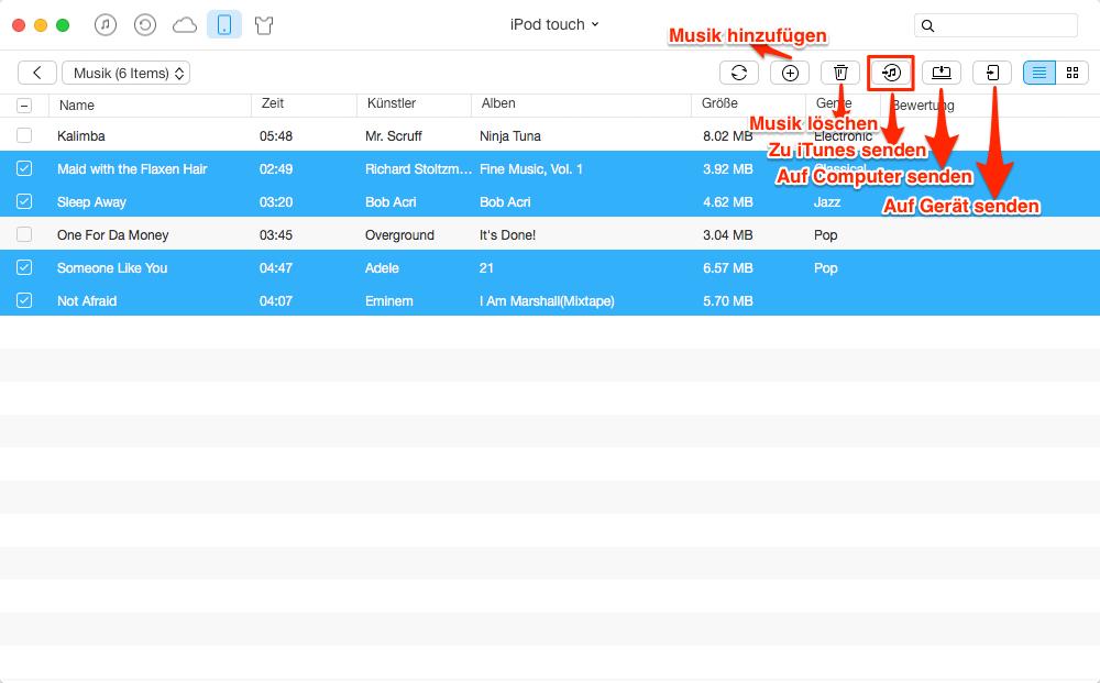 iPod Musik auf iTunes übertragen – Schritt 3