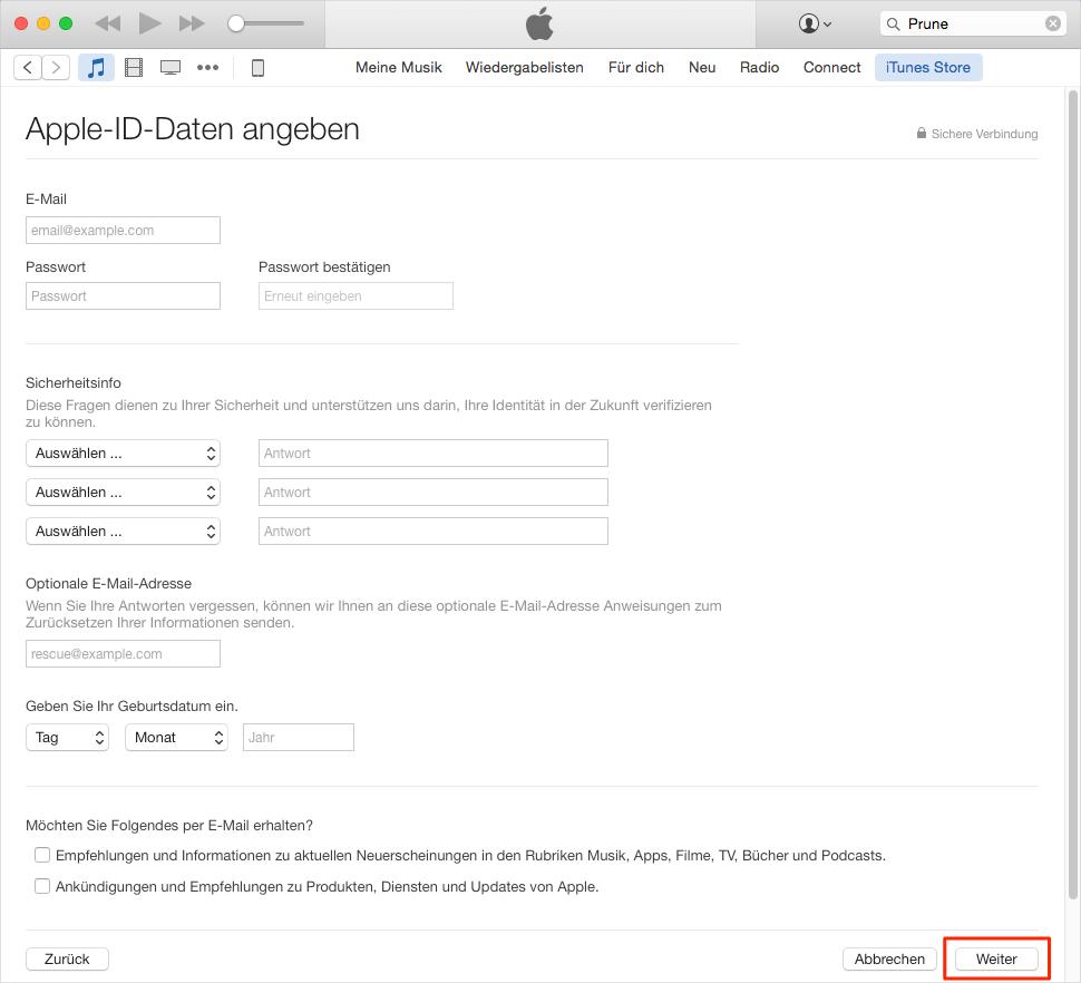 Wie kann man Apple ID ohne Kreditkarte erstellen – Schritt 6