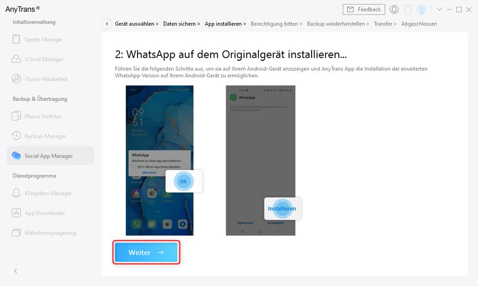 Das originale WhatsApp deinstallieren