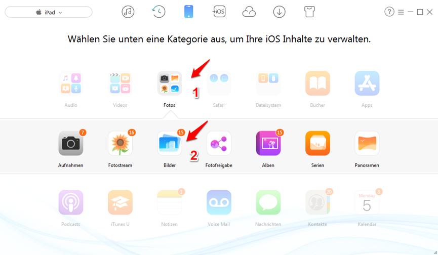 Daten wie Fotos vom PC auf iPad übertragen - ohne iTunes