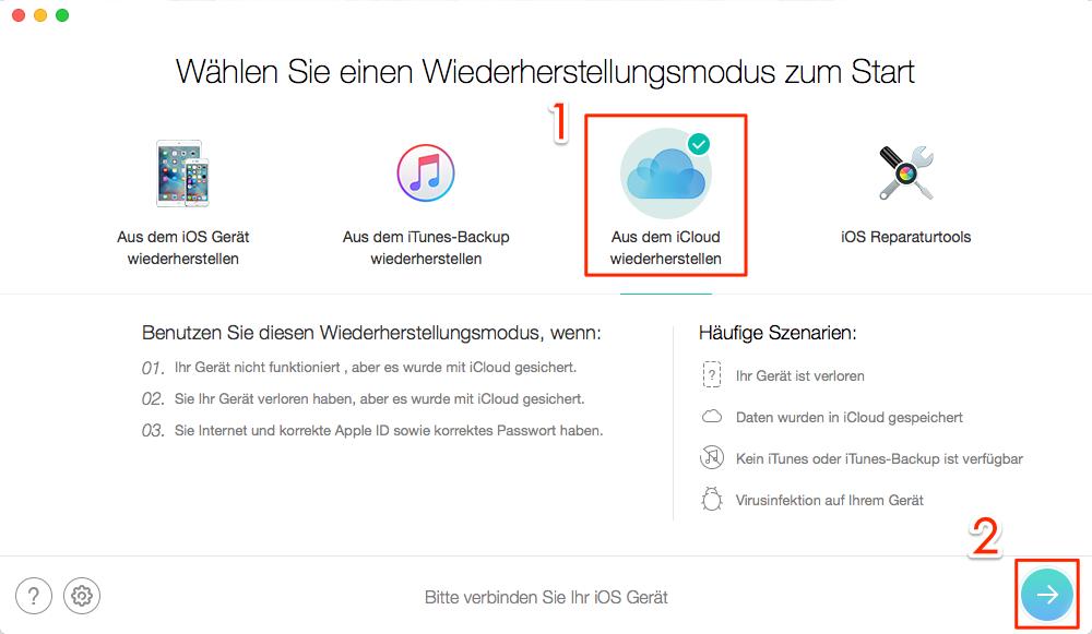PhoneRescue starten und iCloud Backup zugreifen – Schritt 1