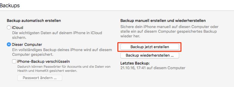 iPad Daten in iTunes Speichern